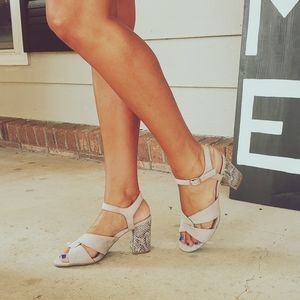 New Directions Gray Snakeskin Block Heel Sandal